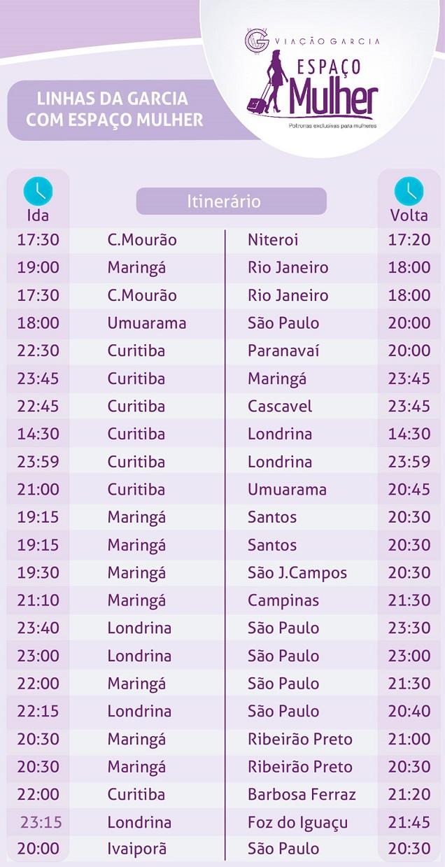Confira as linhas de ônibus da Garcia que oferecem o Espaço Mulher