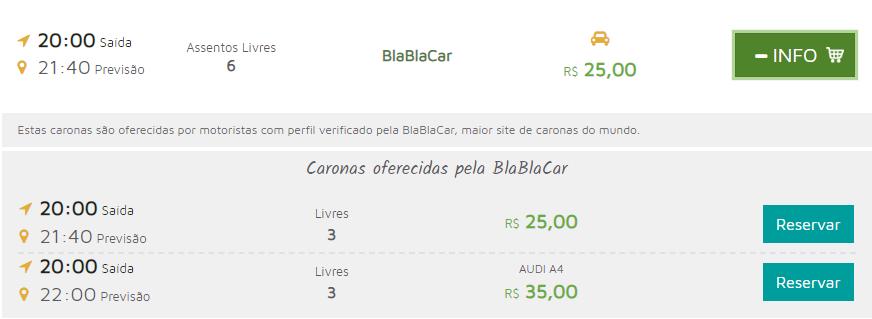 Confira detalhes da sua carona e faça a reserva no site da BlaBlaCar
