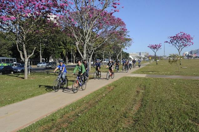 Uma dica de quem pedala é ficar atento ao tipo de ônibus. Foto: Jefferson Rudy/Agência Senado