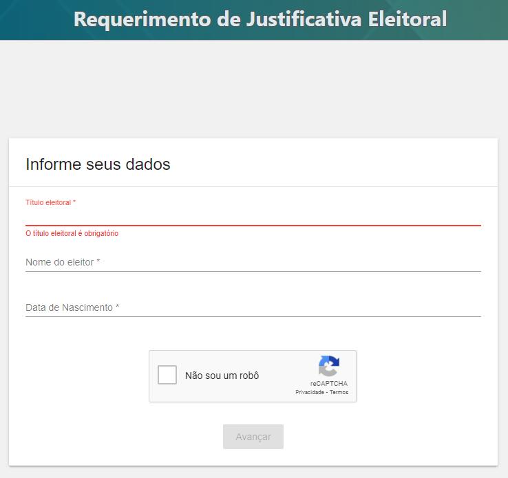 Página de cadastro no Sistema Justifica do TSE para fazer o requerimento de justificativa eleitoral